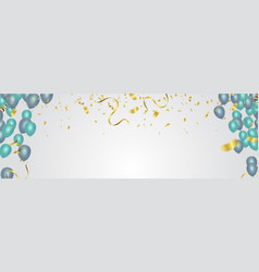 confetti balloons confetti and ribbons flag vector image