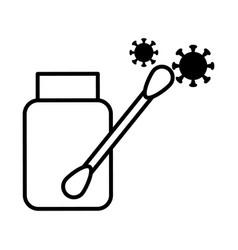 coronavirus test bottle and cotton swab line vector image