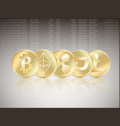 cryptocurrency set with reflect vector image