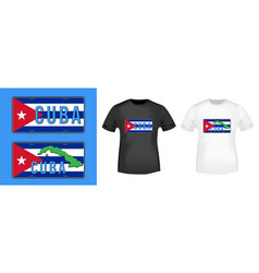 Cuba car number plate stamp and t shirt mockup vector