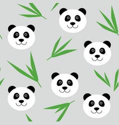 cute cartoon panda bear seamless pattern vector image