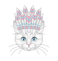 Cute cat portrait with war bonnet on head vector