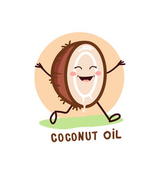 cute coconut oil logo organic natural product vector image