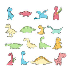 cute dinosaurs set funny wild ancient reptiles vector image