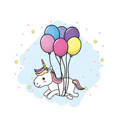 Cute unicorn with horn and hairstyle with balloons vector