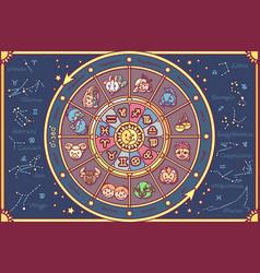 cute zodiac circle horoscope vector image