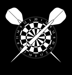 Dartboard with darts on black background vector