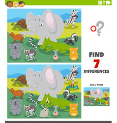 differences educational game with cartoon wild vector image