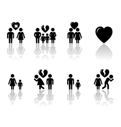 family concept icons with reflection vector image