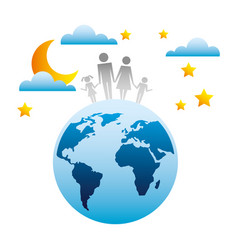 family in planet earth silhouette avatars vector image