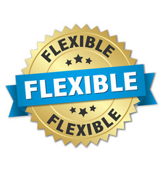 Flexible round isolated gold badge vector