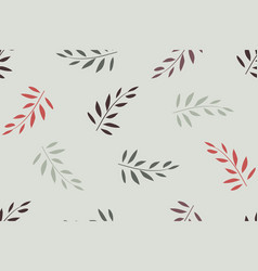 Floral seamless pattern red olive leaves vector