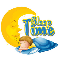 Font design for word sleep time with boy sleeping vector