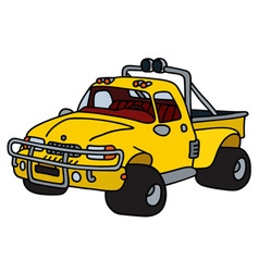 Funny yellow pick-up vector