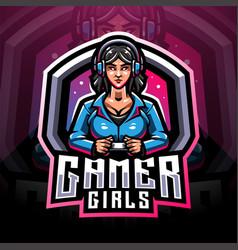 gamer girls esport mascot logo vector image