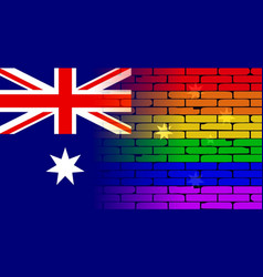 Gay rainbow wall australian flag vector