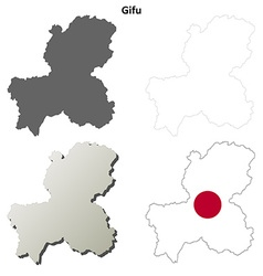 Gifu blank outline map set vector