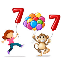 Girl and monkey with balloon number seven vector