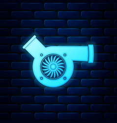 Glowing neon automotive turbocharger icon isolated vector