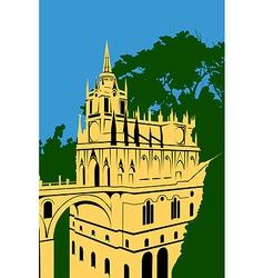 golden castle in the woods vector image