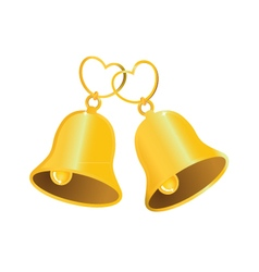 Golden wedding bell with love heart vector image