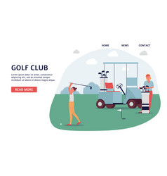 golf club banner on landing page - golfer woman on vector image
