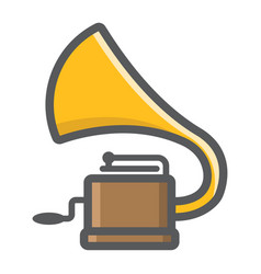Gramophone filled outline icon music vector