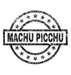 Grunge textured machu picchu stamp seal vector