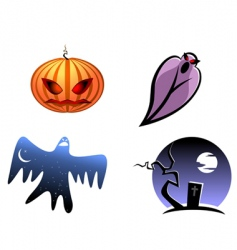 halloween and ghost icons vector image
