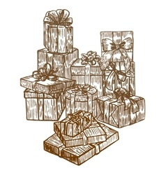 hand drawn gift composition vector image