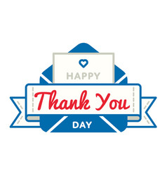 Happy thank you day greeting emblem vector