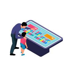 Isometric interactive panel icon vector