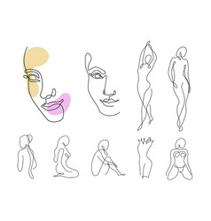 line art woman silhouette set female faces vector image