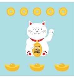 Lucky cat holding golden coin Japanese Maneki vector