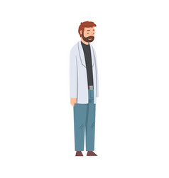 Male scientist character in lab coat doing vector