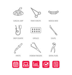 Medical mask capsules and dental pliers icons vector