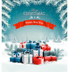 merry christmas background with branches of tree vector image