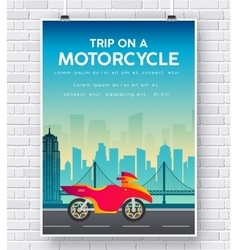 Motorcycle on a road on brick wall vector
