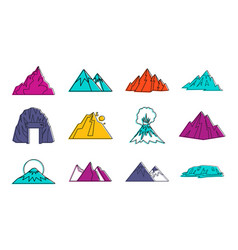 mountains icon set color outline style vector image