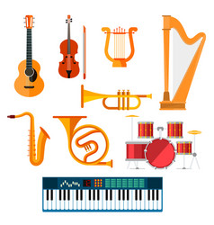 Musical wind key or string instruments vector