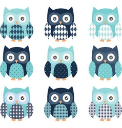 Navy and aqua cute owl set vector