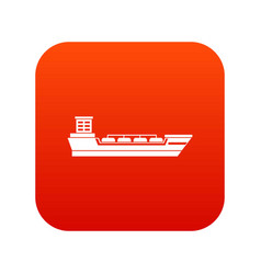 oil tanker ship icon digital red vector image