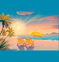 Palm and tropical beach chairs on sandy beach vector