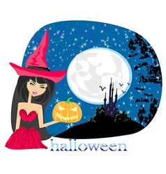 pretty witch in a red dress vector image