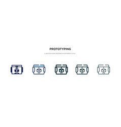 Prototyping icon in different style two colored vector