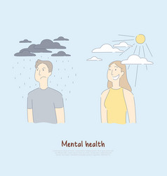 Sad man under raining clouds and happy woman vector