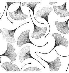 Seamless floral pattern with ginkgo biloba leaves vector