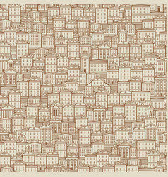 seamless pattern with old hand drawn houses vector image