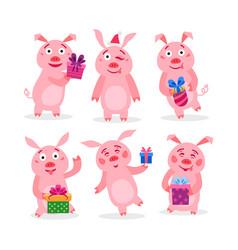 set christmas pigs with christmas gifts vector image