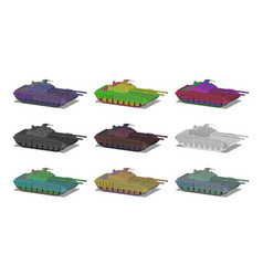 Set isometric 3d concept heavy tanks vector